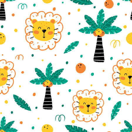 Cute childish seamless pattern with lion, palm, coconut, leaves and dots isolated on white background. Hand drawn Scandinavian style vector illustration.