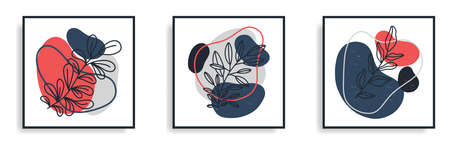 Minimal abstract art decor set. Botanical elements with line art and abstract shapes in red, gray and blue tones isolated on white background.