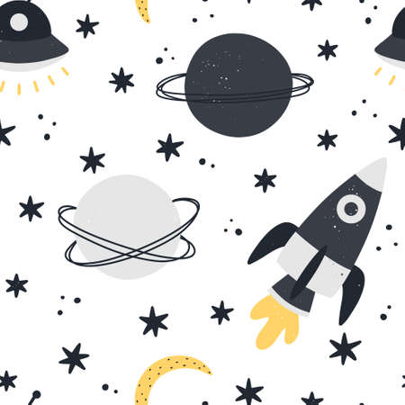 Cute space seamless pattern with rocket, moon, planets and stars isolated on white background. Childish hand drawn Scandinavian style vector illustration. 向量圖像