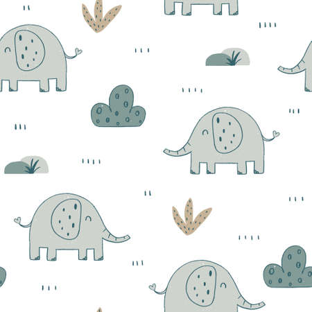 Cute nursery elephant seamless pattern with floral elements and with crayon texture. Hand drawn Scandinavian style vector illustration.