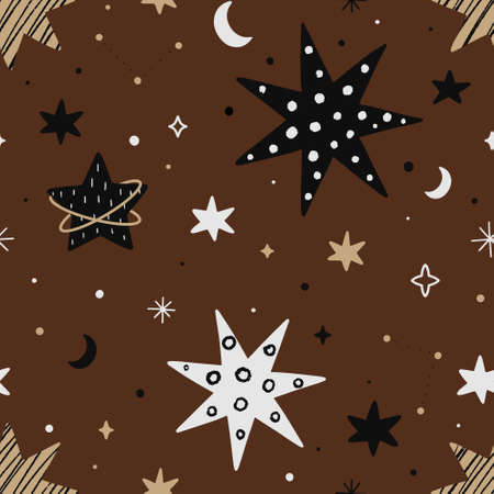 Space seamless pattern with different shaped stars isolated on brown background. Hand drawn Scandinavian style vector illustration.