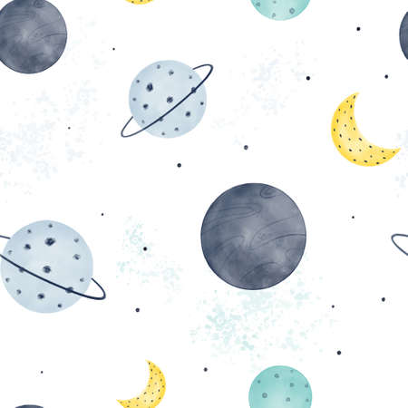 Nursery celestial seamless pattern with planets, moon and constellations with watercolor texture on background. Hand drawn Scandinavian style vector illustration. Ilustração