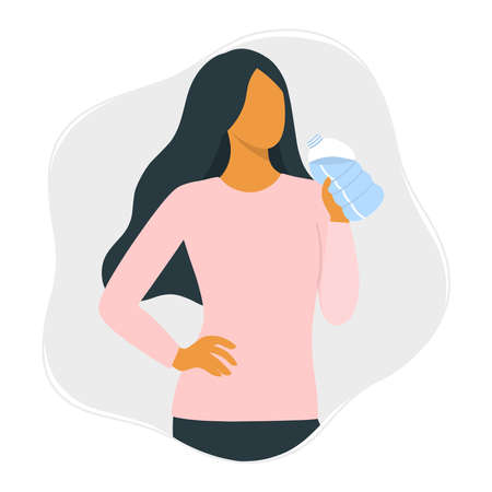 Drink more water and healthy lifestyle concept. Young beautiful woman drinks water from a bottle.
