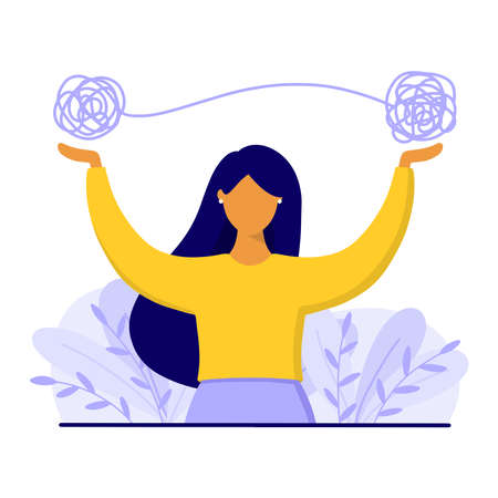 Woman with tangled thread above. Mental health and psychological problems concept. Flat style vector illustration.
