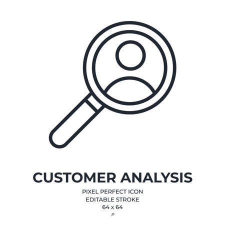 Customer analysis and user behavior concept editable stroke outline icon isolated on white background flat vector illustration. Pixel perfect. 64 x 64.