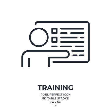 Training, internship or coaching concept editable stroke outline icon isolated on white background flat vector illustration. Pixel perfect. 64 x 64.