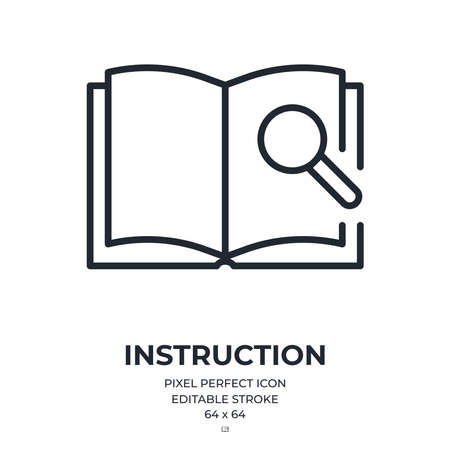 Technical documentation or user manual concept editable stroke outline icon isolated on white background flat vector illustration. Pixel perfect. 64 x 64. Vektoros illusztráció