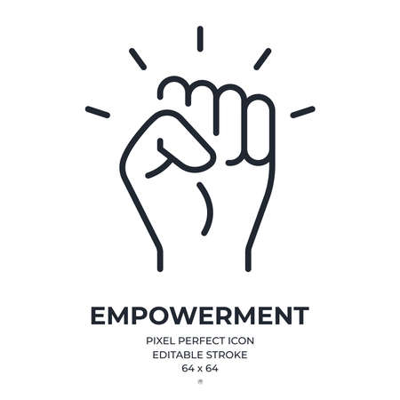 Empowerment concept editable stroke outline icon isolated on white background flat vector illustration. Pixel perfect. 64 x 64.