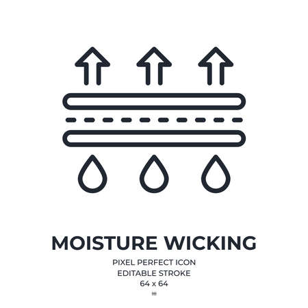 Moisture wicking editable stroke outline icon isolated on white background flat vector illustration. Pixel perfect. 64 x 64. Vecteurs