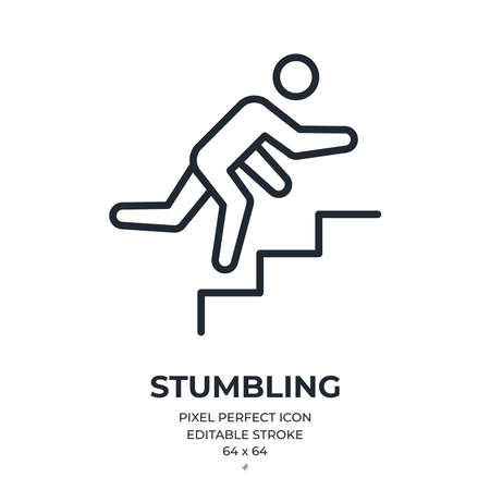 Stumbling man on stairs editable stroke outline icon isolated on white background flat vector illustration. Pixel perfect. 64 x 64. Vector Illustratie
