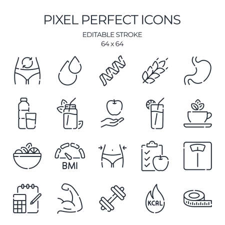 Nutrition and calorie counting related editable stroke outline icon isolated on white background flat vector illustration. Pixel perfect. 64 x 64.