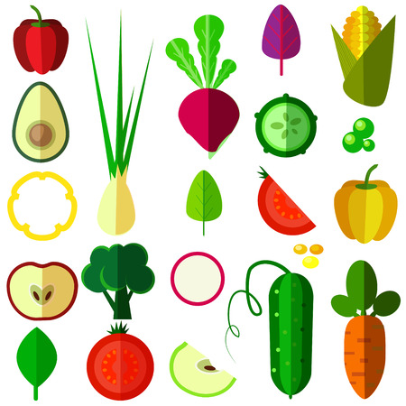 peppers: set of vector isolated vegetables as onion, tomat, avokado, cucumber, cob, carrots, peppers,