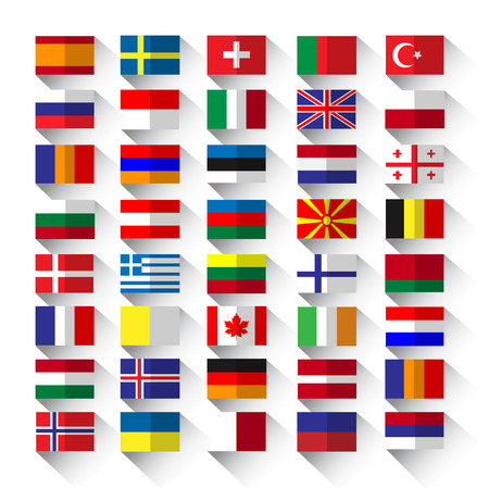 western european: country flags on white background in flat style with long shadow Illustration