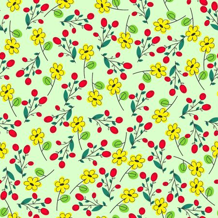 patter: green seamless summer patter with yellow  flowers as chamomile and  rose hip