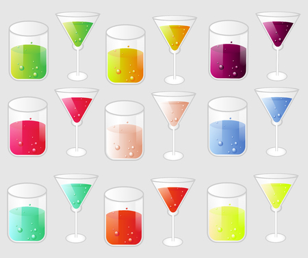 soft drinks: glasses with alcoholic and soft drinks
