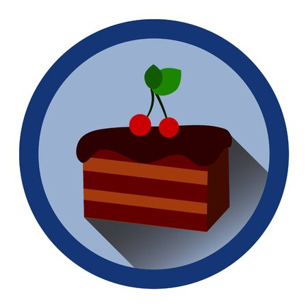 jams: modern flat icon with slice of chocolate cake, cherrry and shadow Illustration