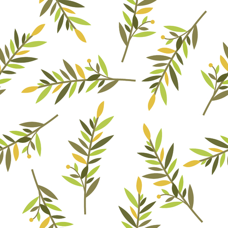 sepals: floral seamless pattern with branches of laurel for textile print