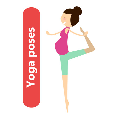 childbearing: illustration of simple yoga poses for pregnant woman for sport activity and relax