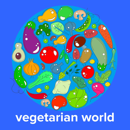 oktober: vectr concept of the day vegetarian - a range of vegetables and fruits on the background of the world globe Illustration