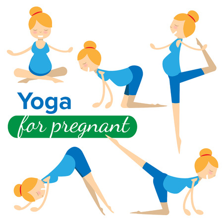 flexible woman: set illustrations of simple yoga poses for pregnant woman
