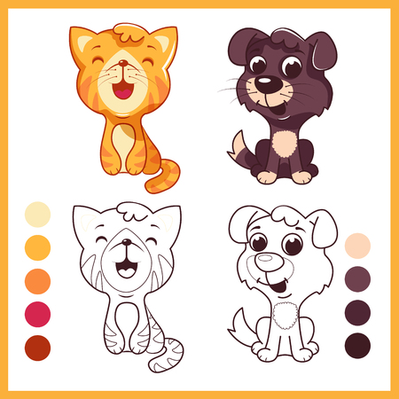 kindergarden: Cute pets. Cartoon vector characters isolated on a white background with black outline.