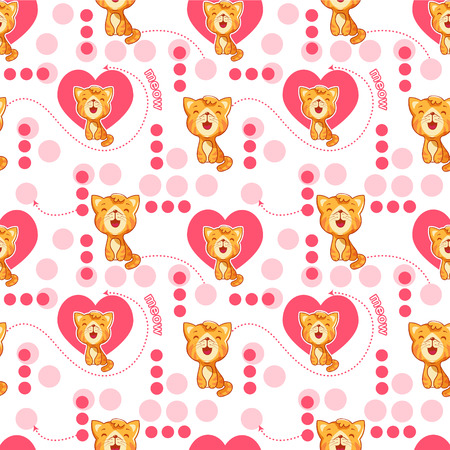 bootees: Seamless pattern with cute cartoon cat and heart. cute Baby pattern.