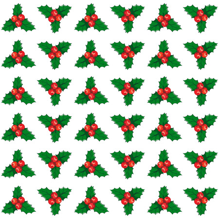 Christmas and New year seamless mistletoe pattern card background Illustration