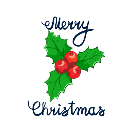 Merry Christmas Lettering with cartoon drowing omela. Element for design banners, web and greetings Illustration