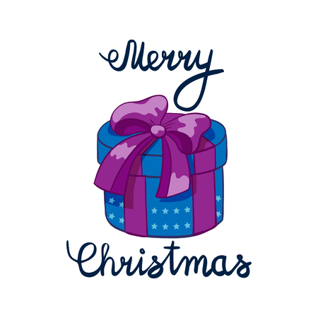 illustration of Merry Christmas Lettering with cartoon drowing omela. Element for design banners, web and greetings Illustration