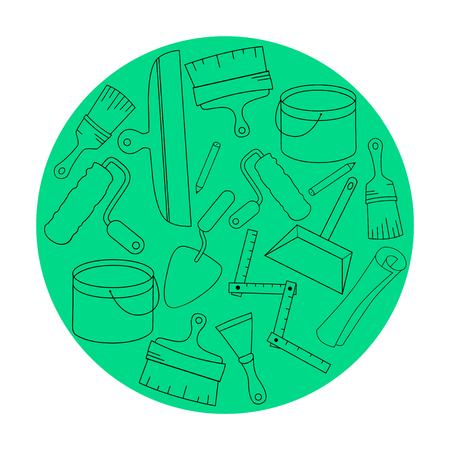 Wallpaper DIY shop icon design templates. M Illustration