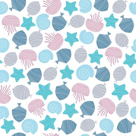 Cute fish. Kids background. Seamless pattern in scandinavian style.