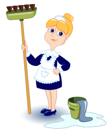 chore: Cleaning girl. Isolated white. Vector illustration.