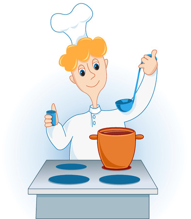 The cook prepares. Isolated on the white. Stock Vector - 6199429