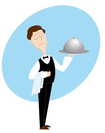 Waiter. Vector illustration. Isolated on white.