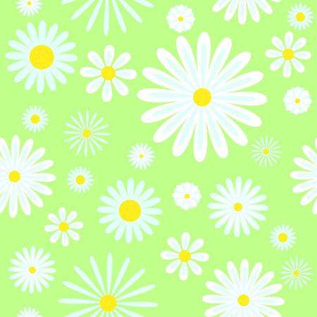 Chamomiles naadloze patroon. Op groen. Vector afbeelding.
