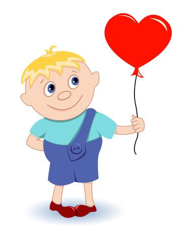 Boy with heart-balloon. On a white. Vector illustration. Vector