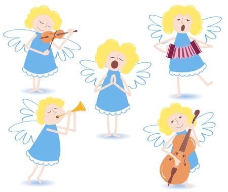 Muzikale engelen. Op een wit.  Stock Illustratie