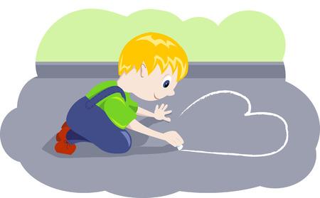 Boy draw heart. Vector