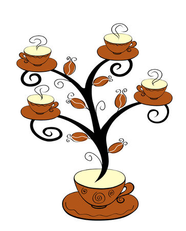 plant pot: Coffee cups tree series. Tree on white background. Illustration