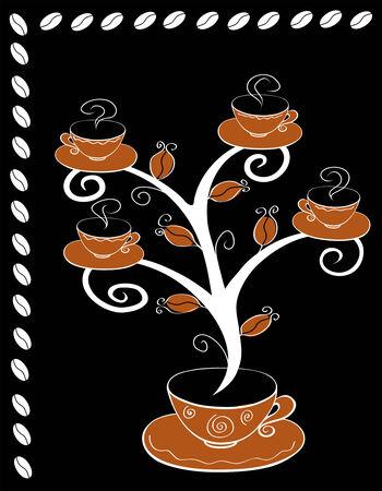 coffee crop: Coffee cups tree series. Tree on black background. Illustration