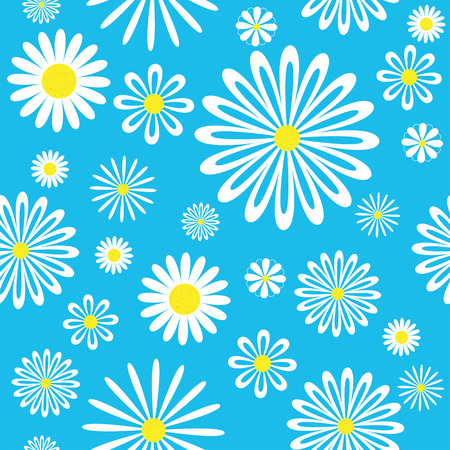 Seamless white-blue chamomiles pattern. Stock Vector - 6481385