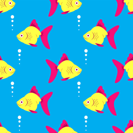 Seamless fish blue pattern. illustration. Vector