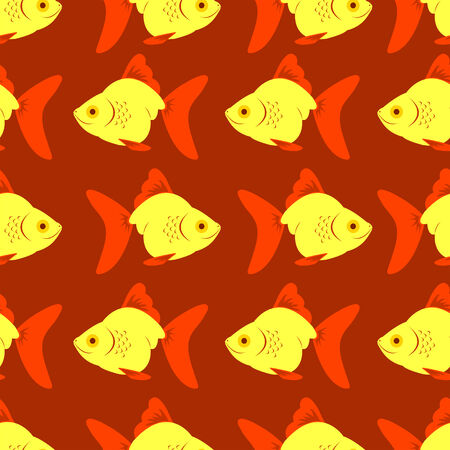 Seamless fish red pattern.  illustration. Stock Vector - 6627208