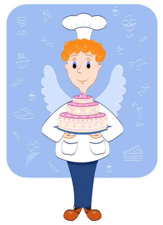 Cook-angel and cake on blue background.  Vector