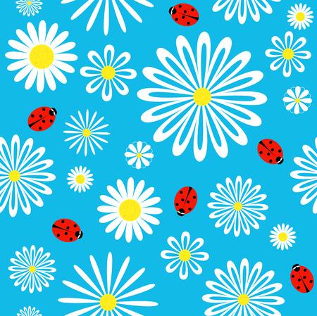 Seamless ladybird chamomile pattern.  Vector