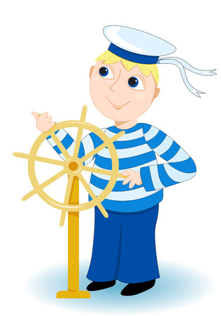 ship captain: Boy in a sea stripped vest operates a wheel. On white.