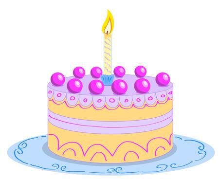 Pastel de cumplea�os de dibujos animados.  Foto de archivo - 6768577