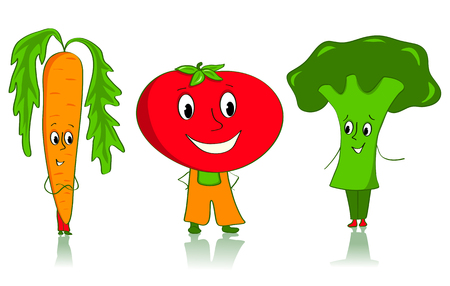 Cartoon vegetables characters. Carrot, tomato and broccoli. Isolated on white. Vector