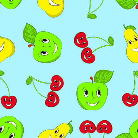 seamless cartoon fruit background. Apple, cherries and a pear. Vector