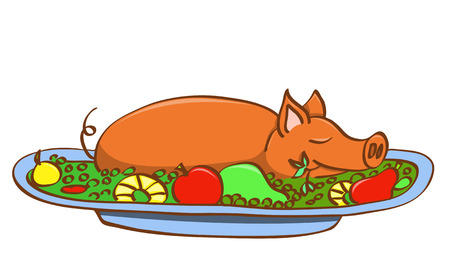 pig roast: Young pork on dish. illustration. Isolated on white.